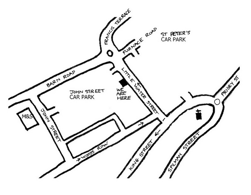 map of Carmarthen Osteopaths, 56 Little Water Street, Carmarthen
